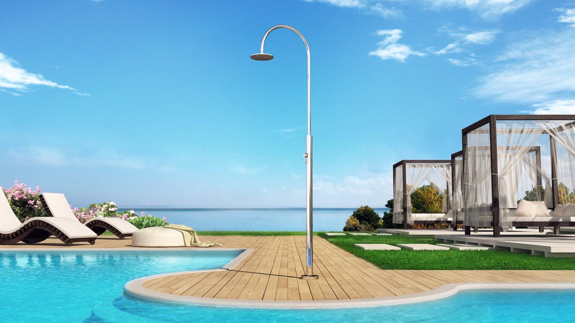 Photo douche extérieure, piscine, jardin - Aria Cylinder Inoxstyle