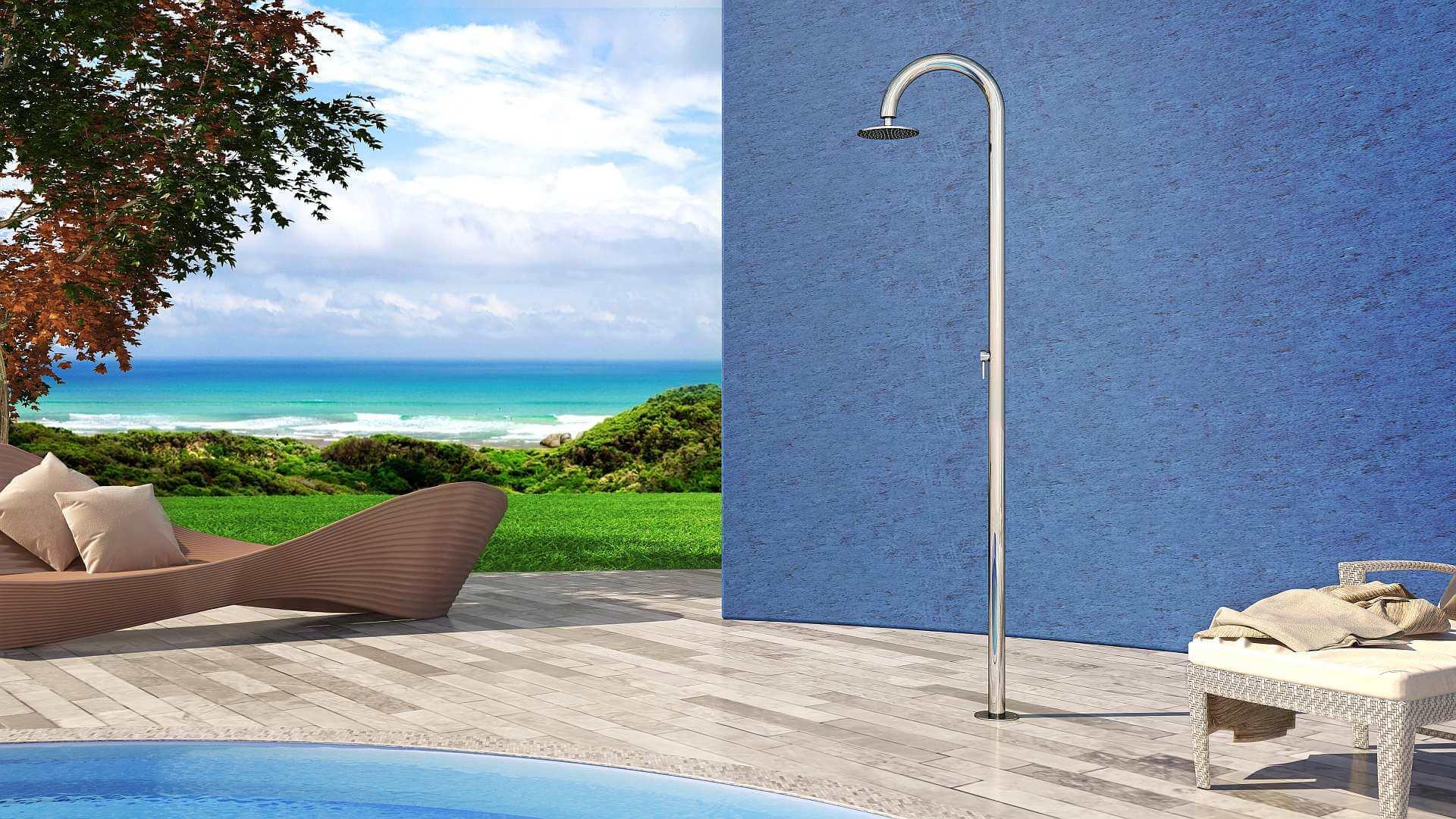 Photo douche extérieure, piscine, jardin - Sole 60 Inoxstyle