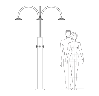 Technical drawing outdoor shower, pool, garden - Melody Inoxstyle