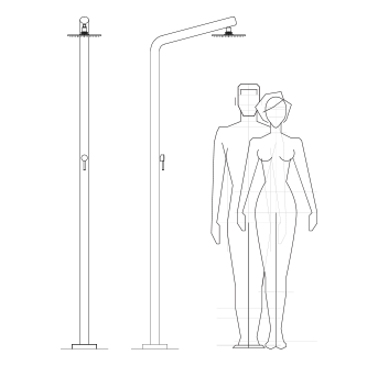 Technical drawing outdoor shower, pool, garden - RIVA Inoxstyle