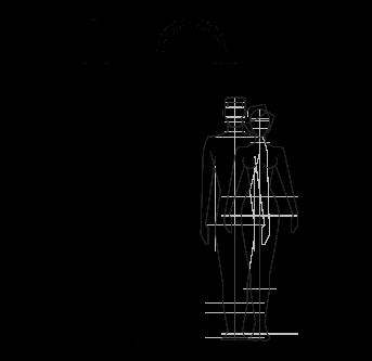 Dibujo técnico ducha al aire libre, piscina, jardín - Sole 48 Inoxstyle