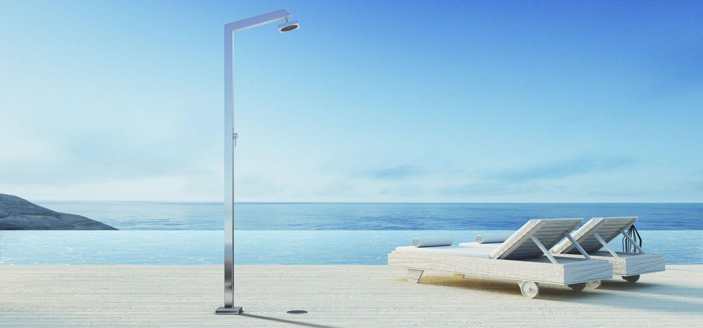 Immagine doccia per esterno, per piscina, per giardino - Tecno Cube Inoxstyle